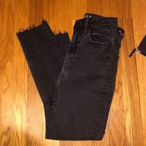 super high rise knee ripped black skinny jeans